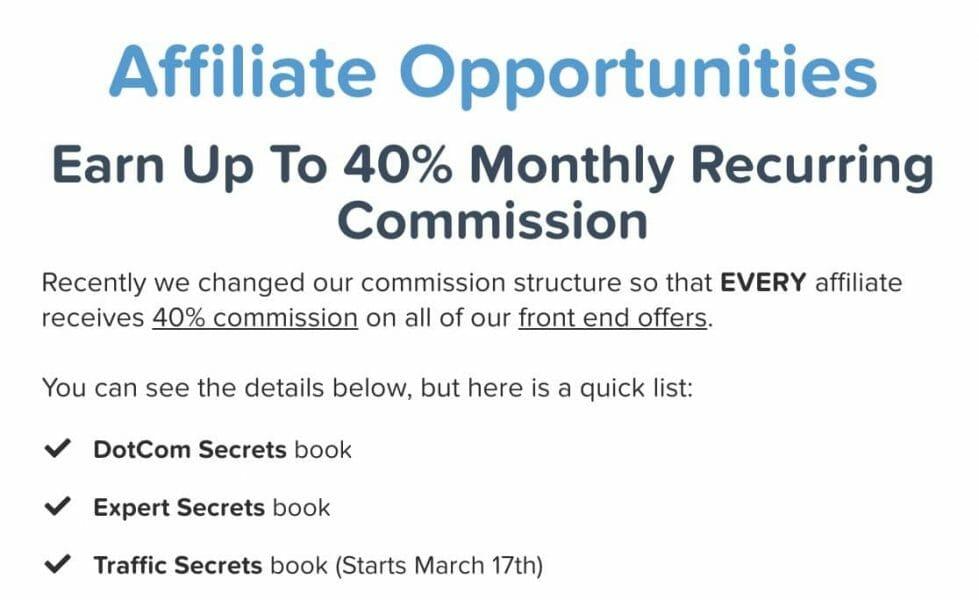 clickfunnels affiliate commission