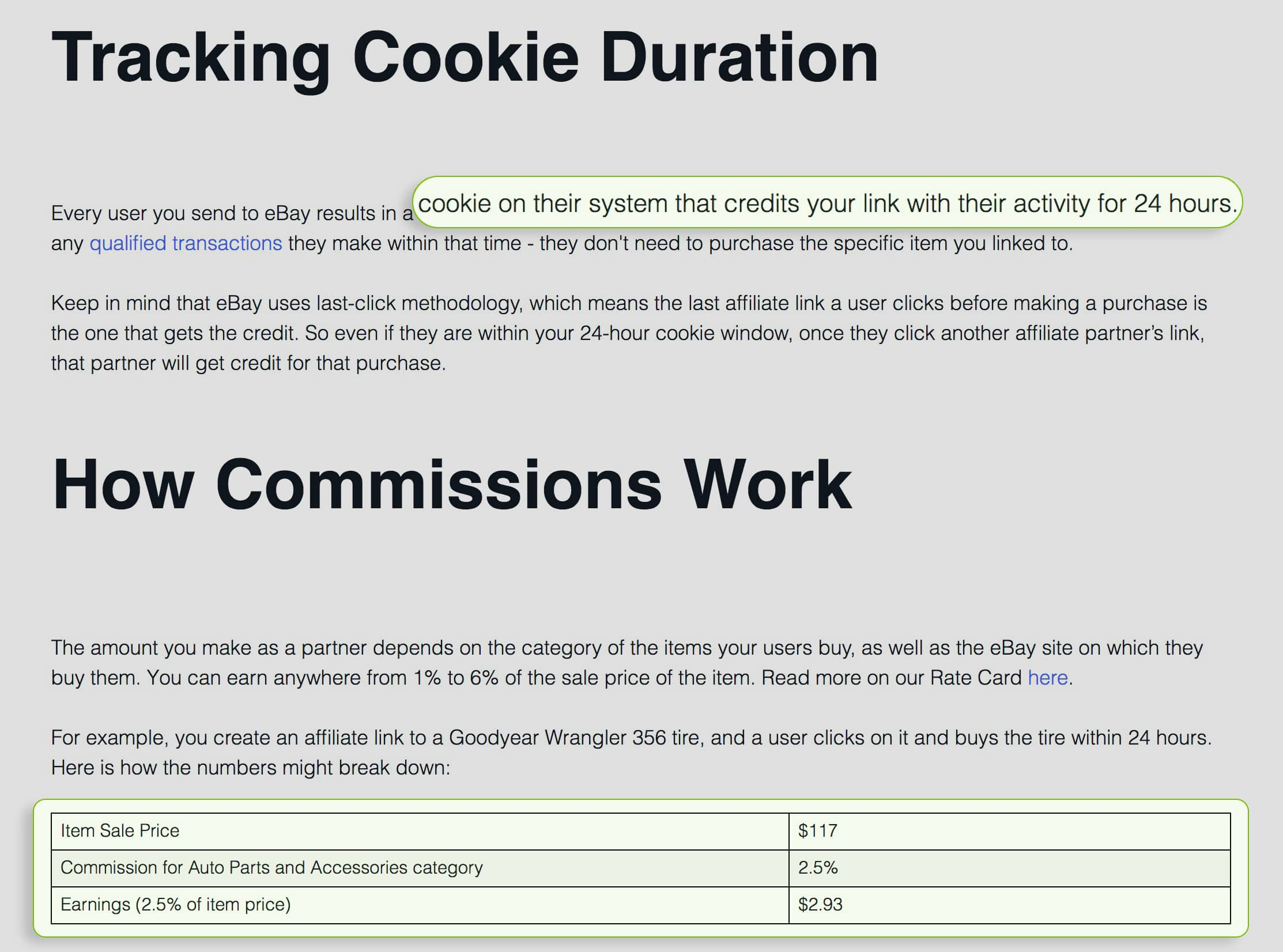 ebay cookie and commission policy
