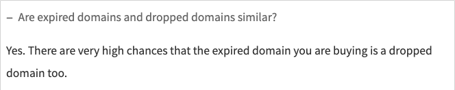 Dropped Domains FAQ