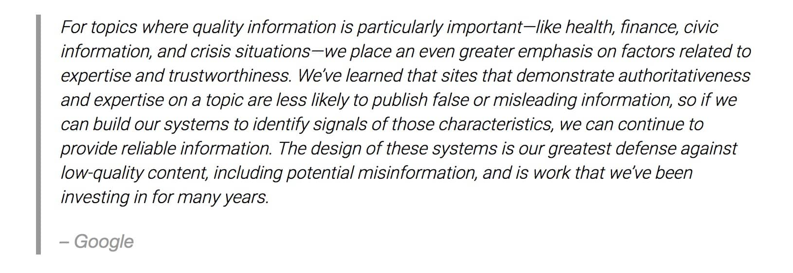 authority profile quote from google