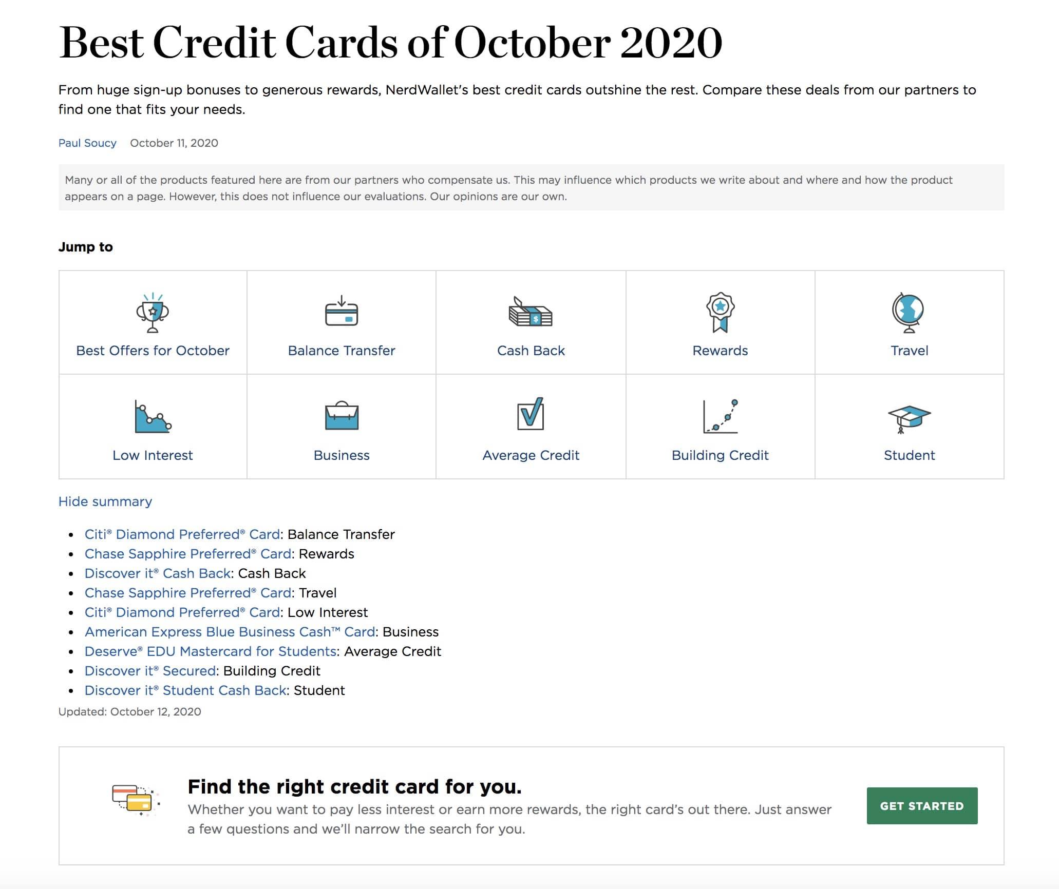 best credit card 2020 nerdwallet