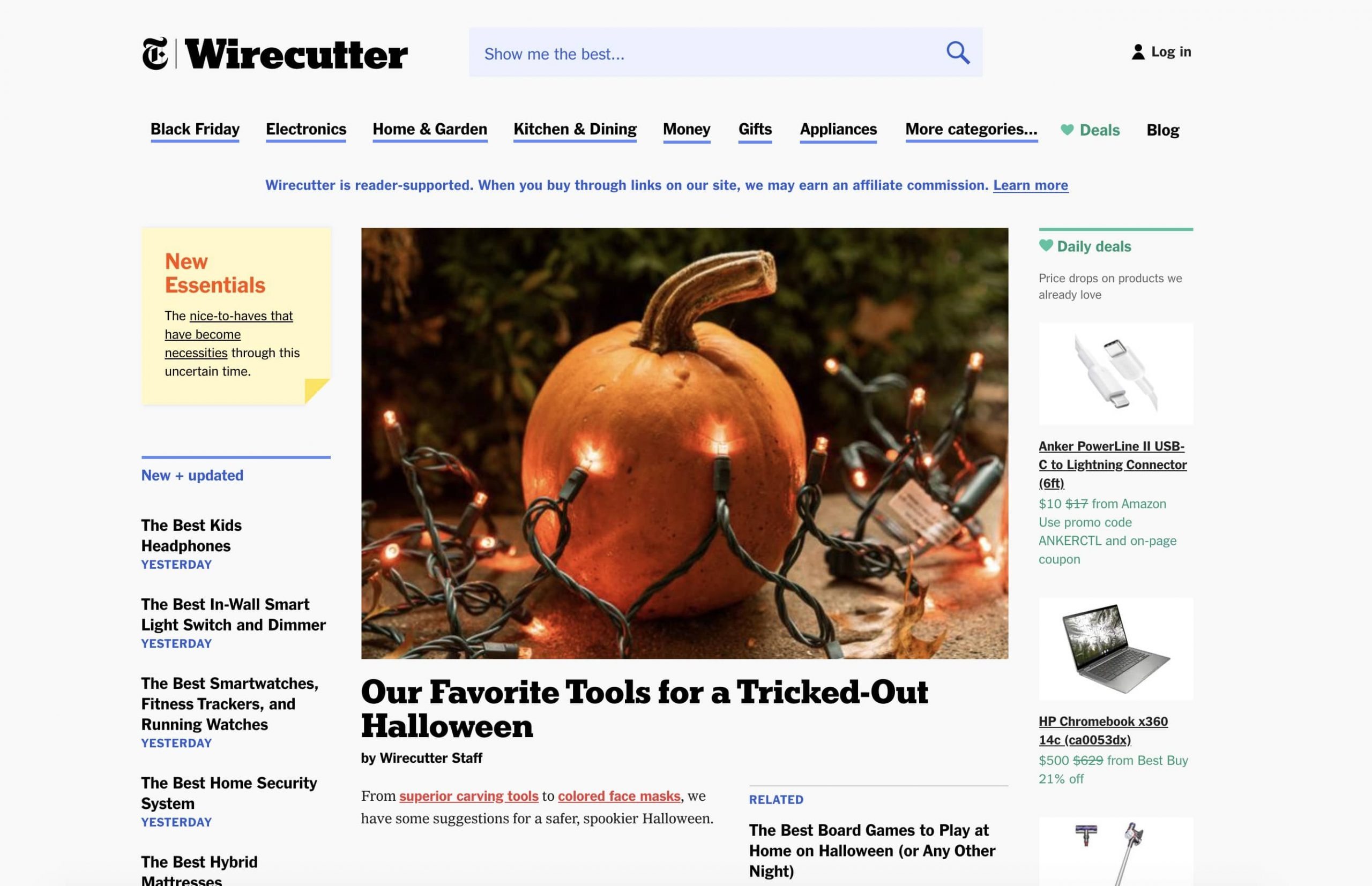 the wirecutter homepage