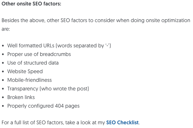 Other Onsite SEO Factors
