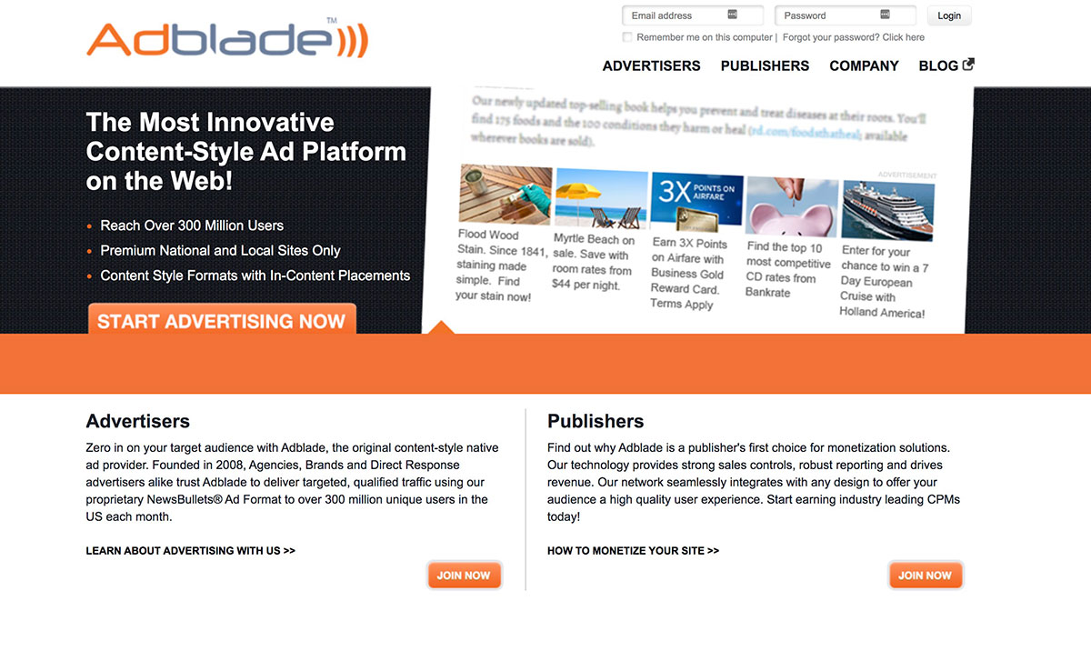 AdBlade Homepage