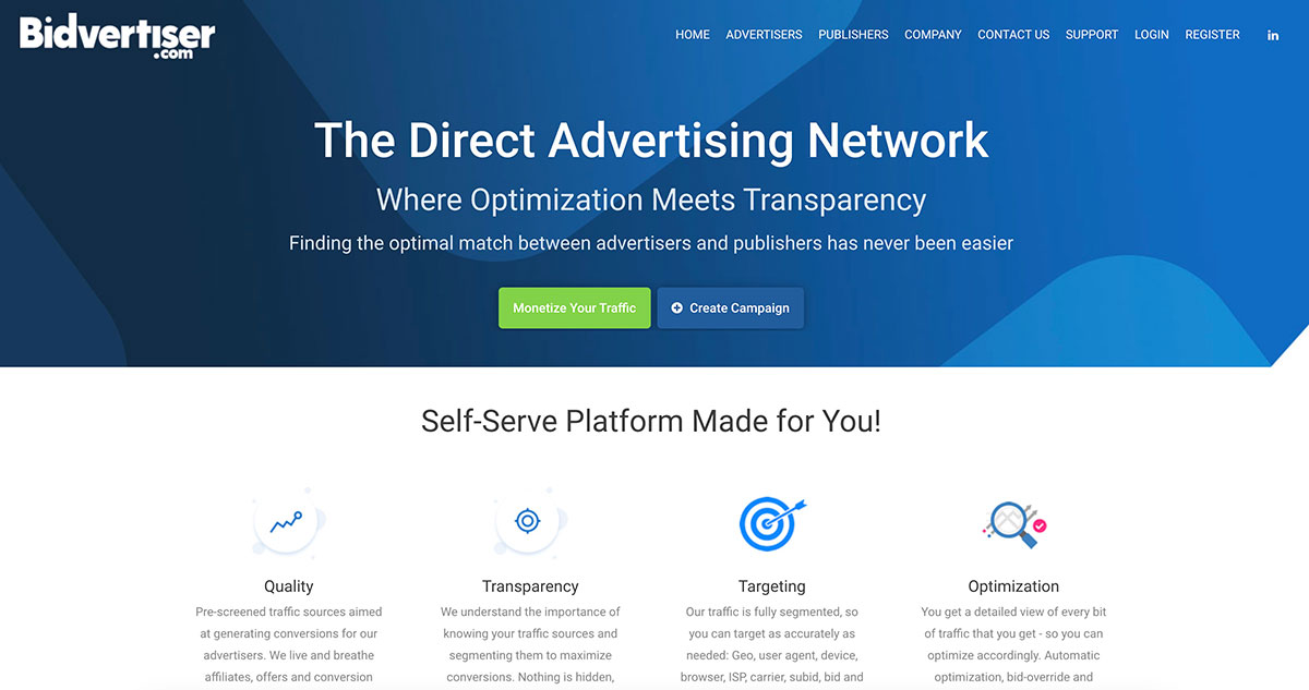 Bidvertiser Homepage