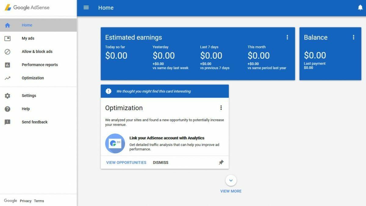 Google Adsense Dashboard
