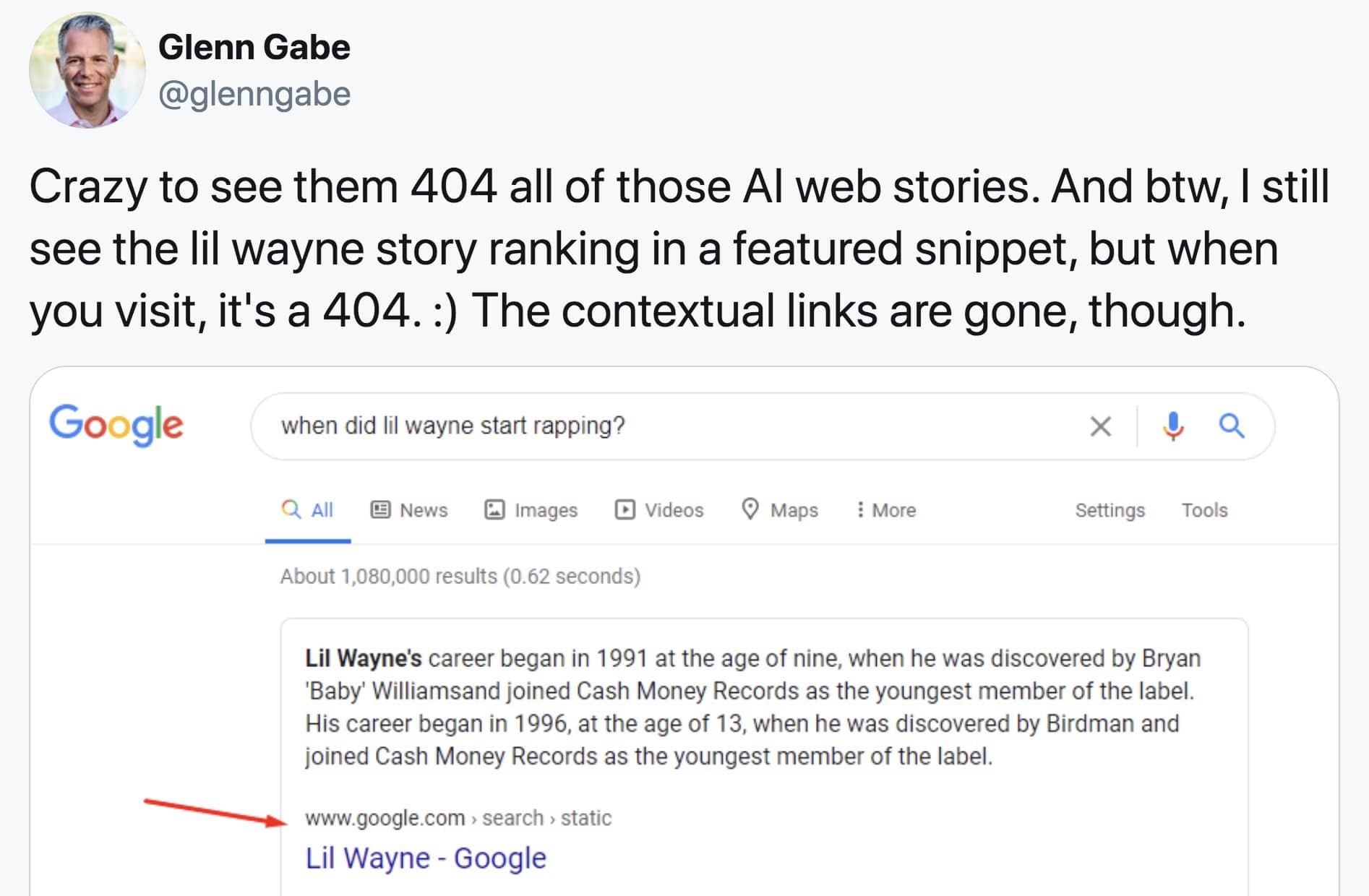 google web stories 404