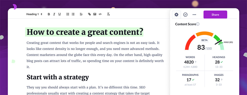 how to create great content surfer seo