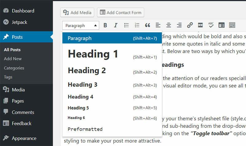 wordpress post headings