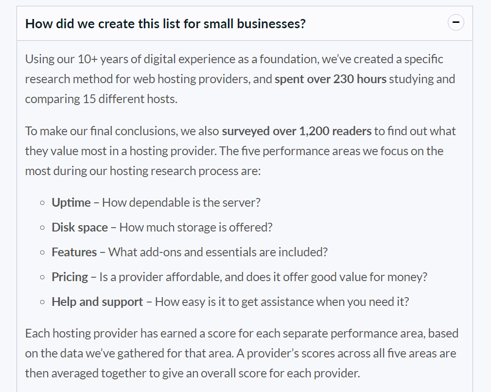 criteria of creating the list for web hosting providers for small businesses