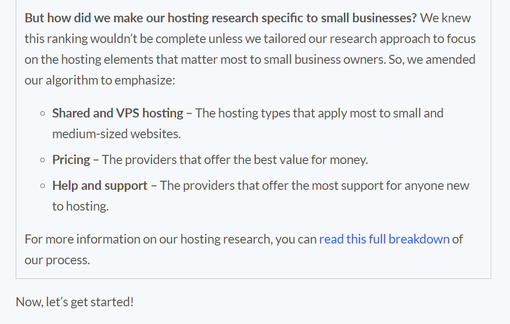 reason for hosting researching specifically for small businesses