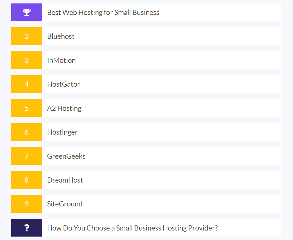 list of the top 8 web hosting providers