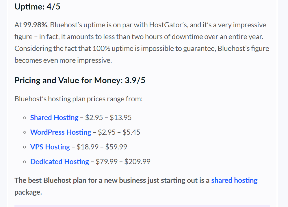 bluehost uptime and pricing
