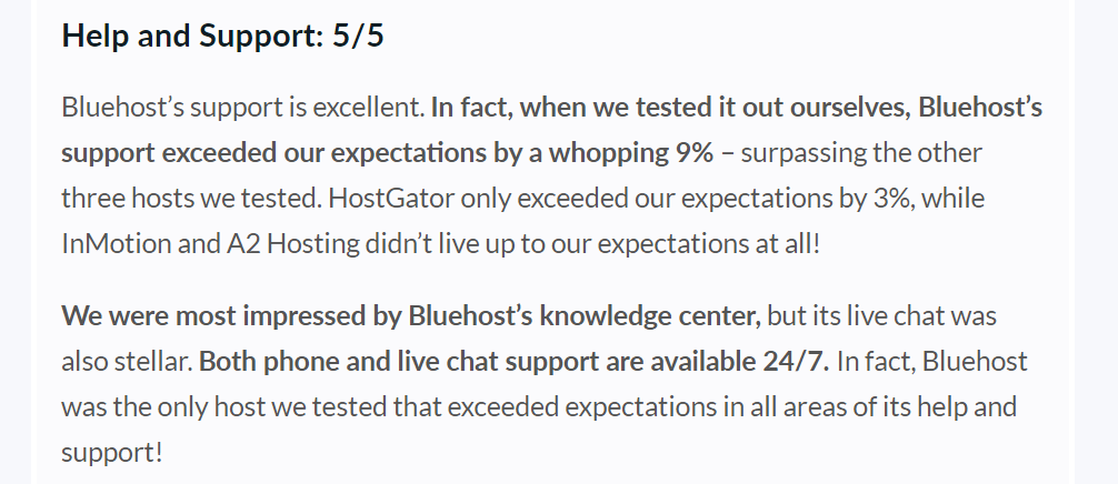 bluehost help and support