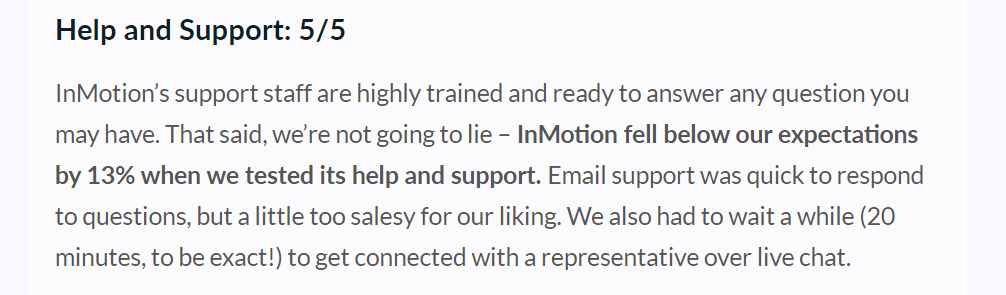 inmotion help and support