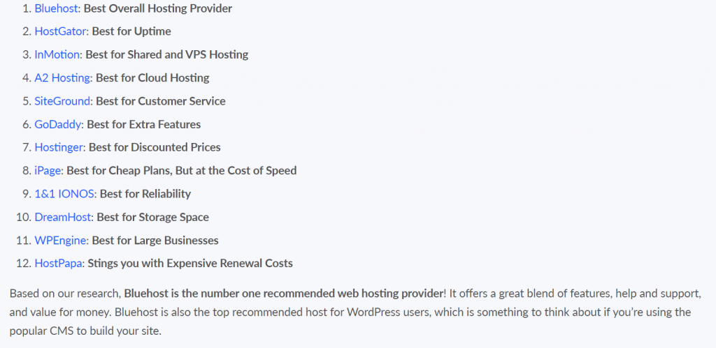12 best hosting providers