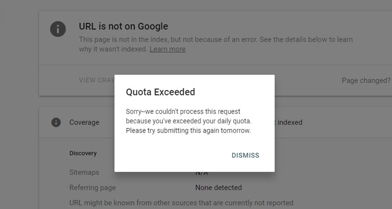 Request Indexing quota exceeded
