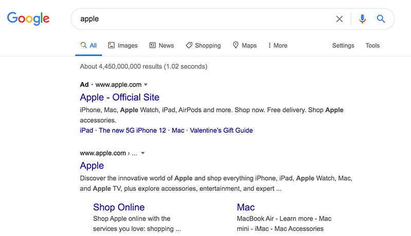 apple serp company not fruit