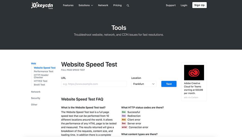 keycdn homepage screengrab