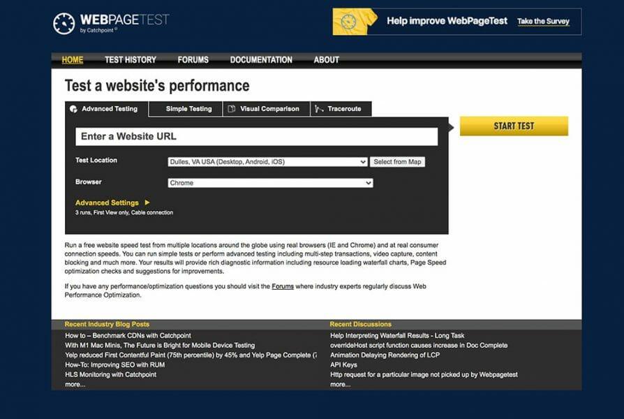webpage test home screengrab