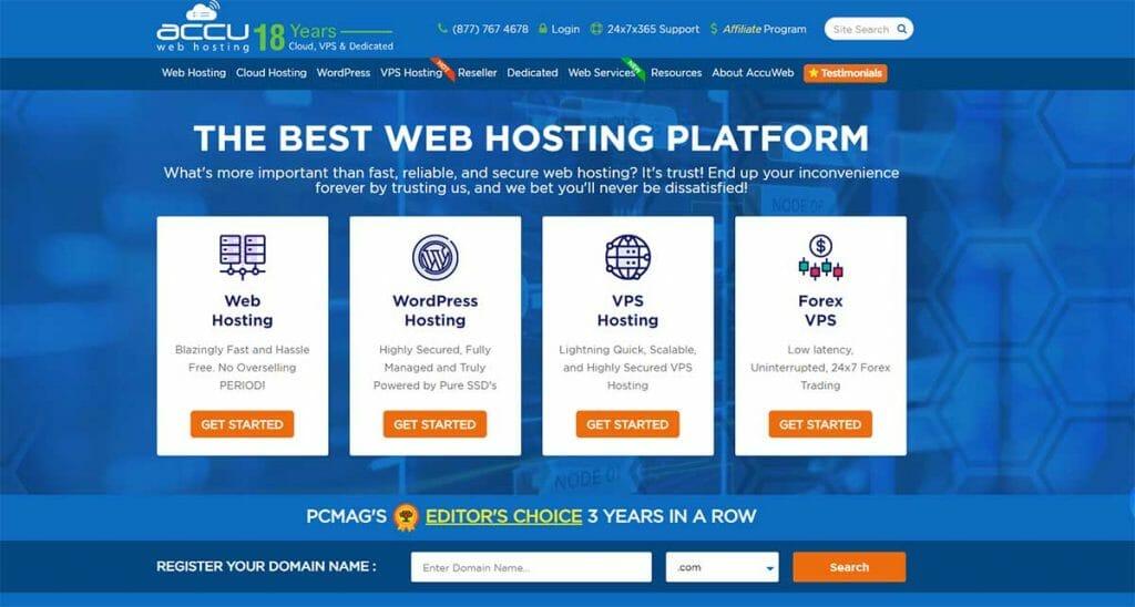Acuu web hosting homepage
