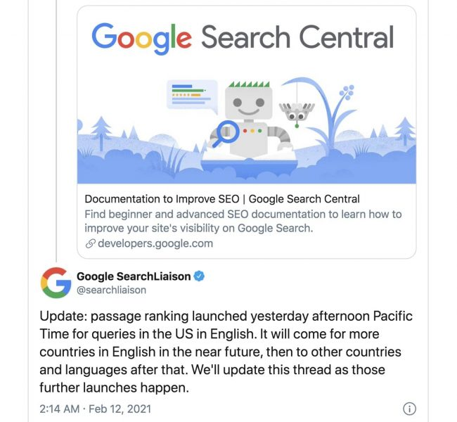 Google Passage Ranking update
