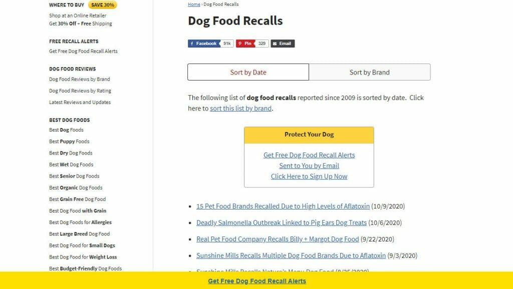 dog food recall article