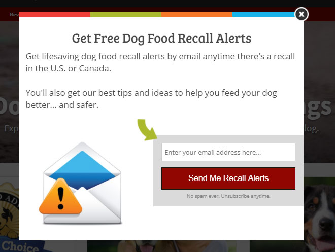 dog review pop up call to action