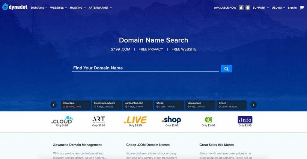 dynadot homepage