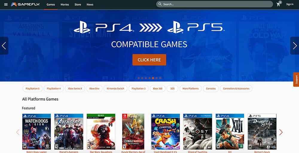 gamefly homepage