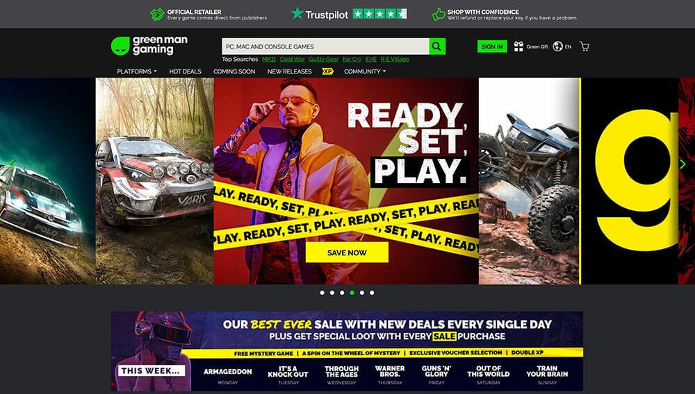green gaming homepage