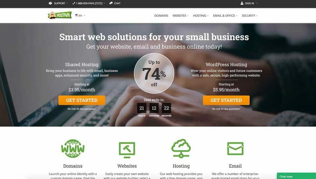 hostpapa web host homepage