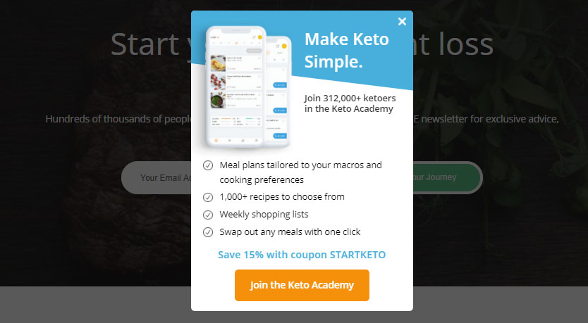 make keto simple popup call to action