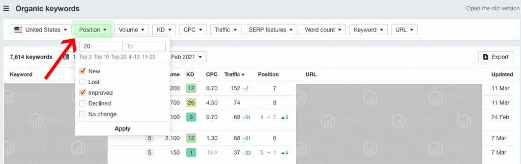 organic-keywords-comparison-Position-menu-from-ahrefs