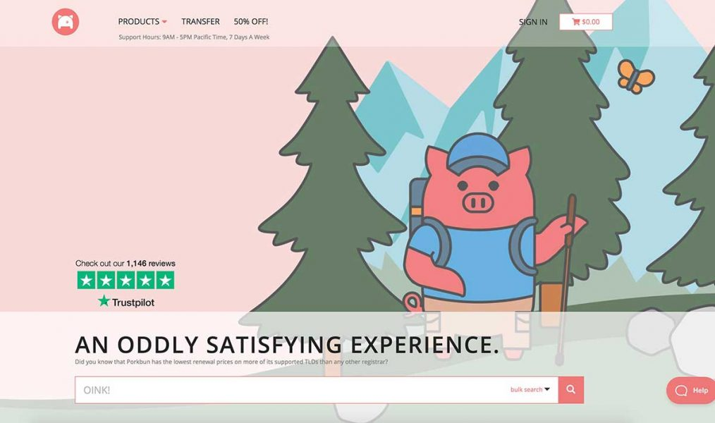 porkbun homepage