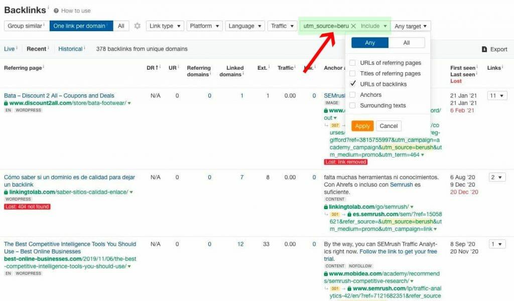 semrush URL of backlinks checks on ahrefs