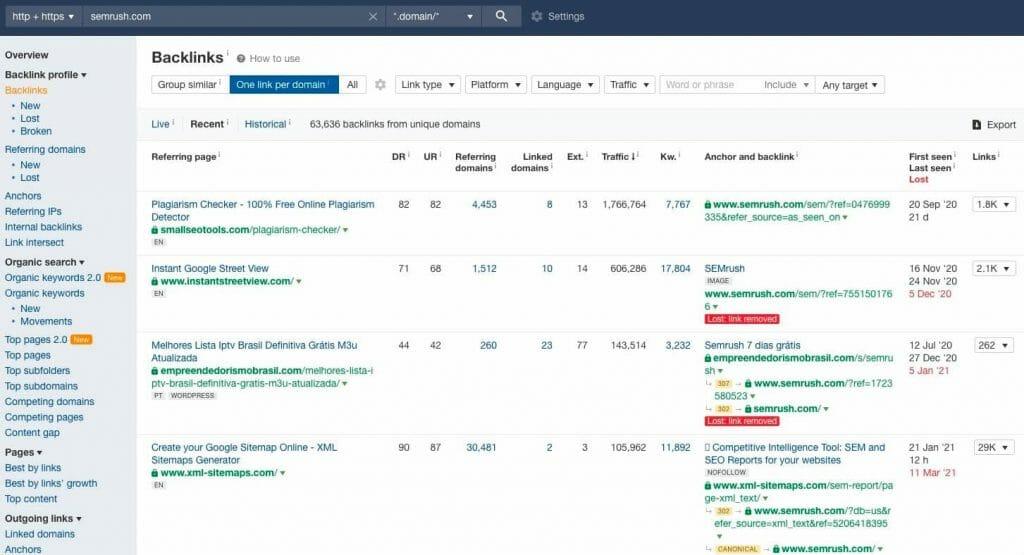 semrush one link per domain result