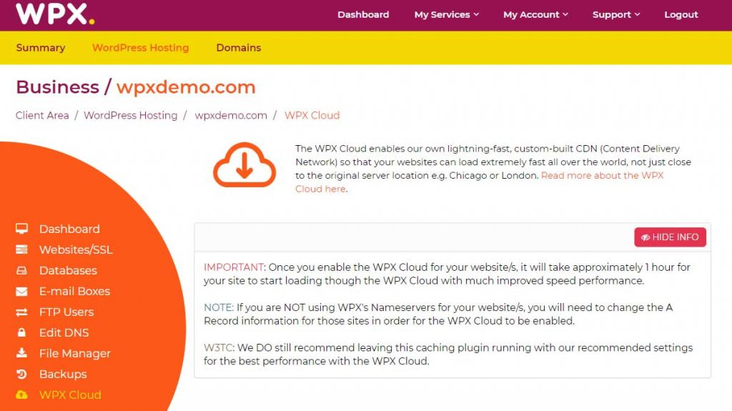 wpx cloud hosting service