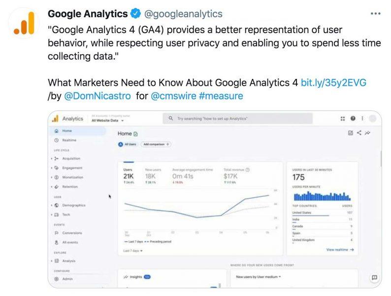 Google analytics 4 tweet update