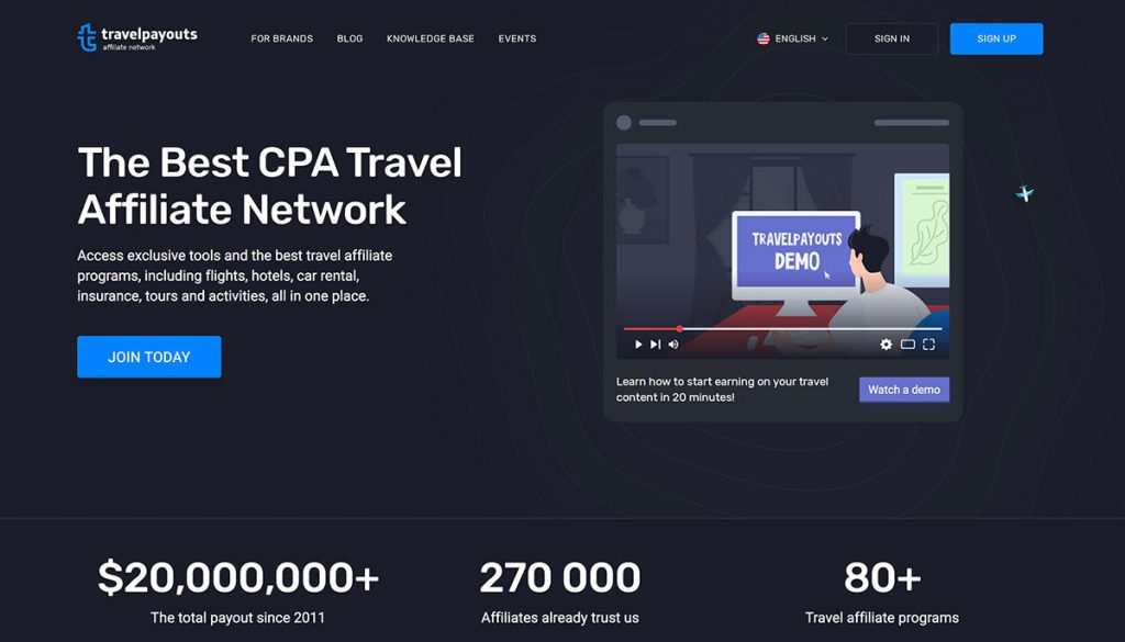 Travel payouts homepage