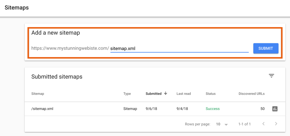 adding new sitemap in Google Search Console