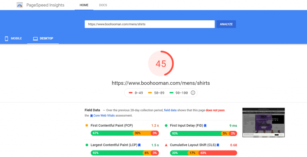 bohooman page site speed