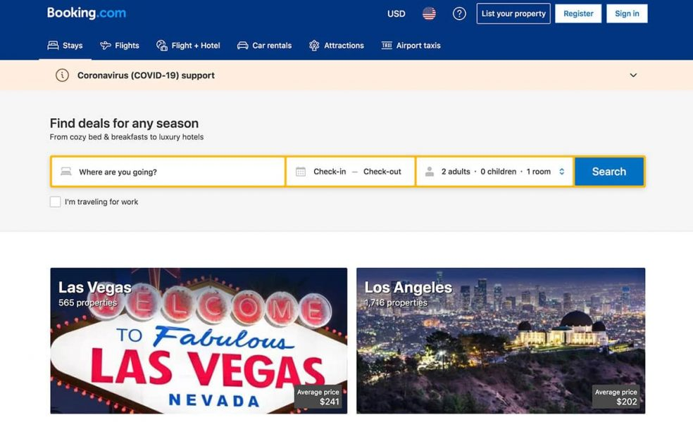 booking.com homepage preview