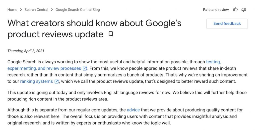 google produdct review affiliate websites update
