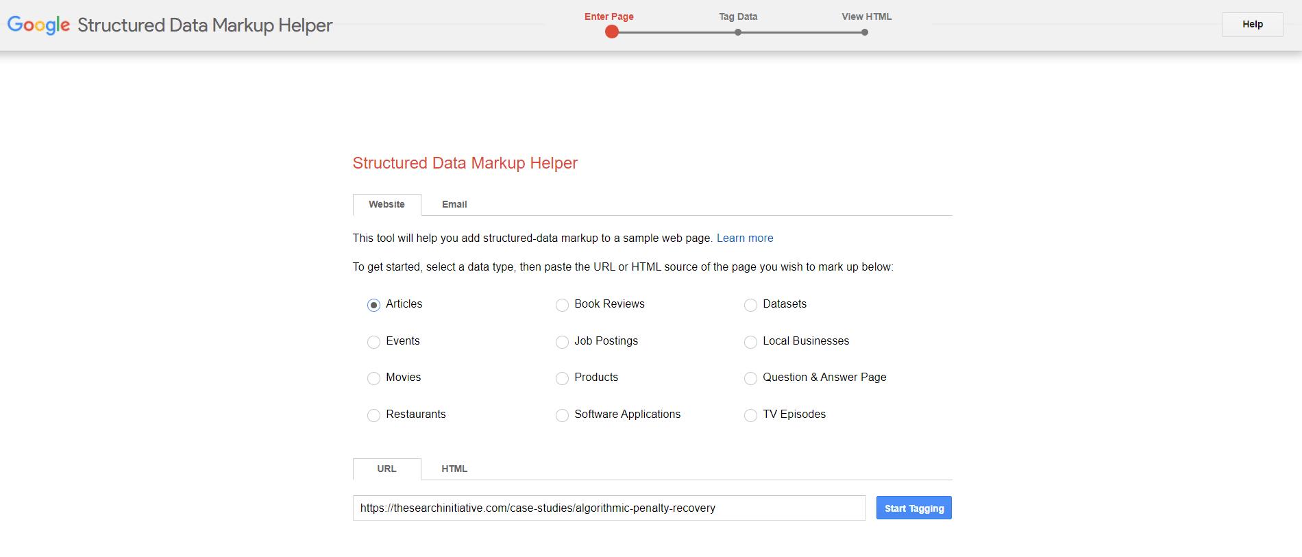 google structured data markup helper dashboard