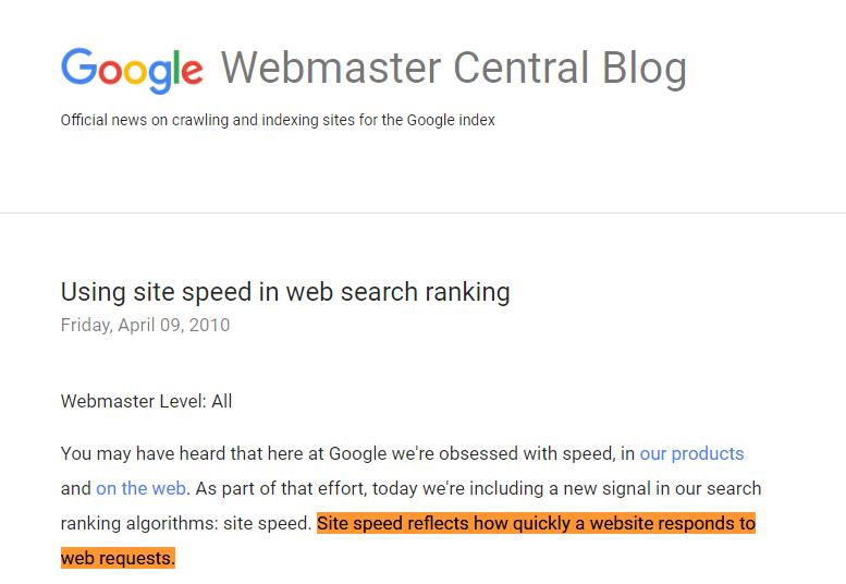 google webmaster central blog for sitespeed