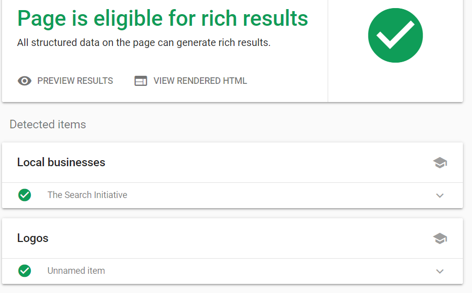 page is eligible for rich result