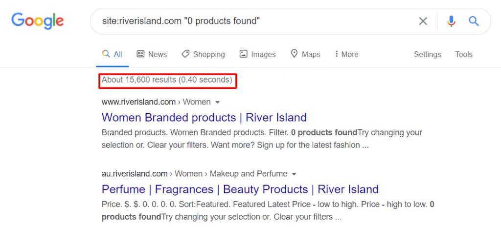 riverisland 0 product found serp