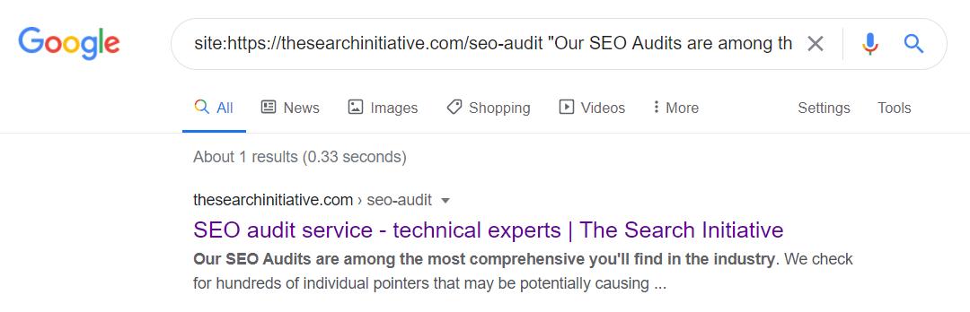 seen by google serp test