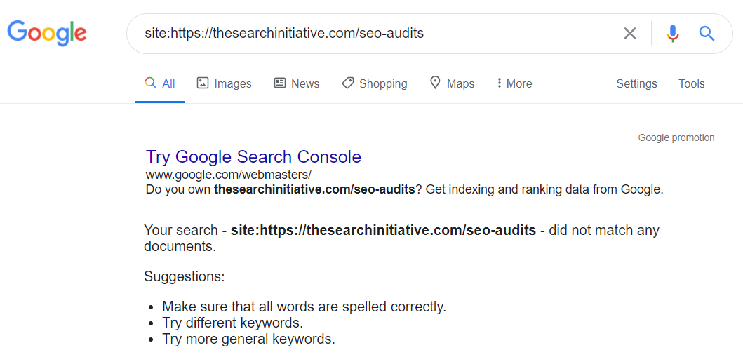 try google search console failed search